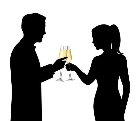 Drinken paar silhouetten vector