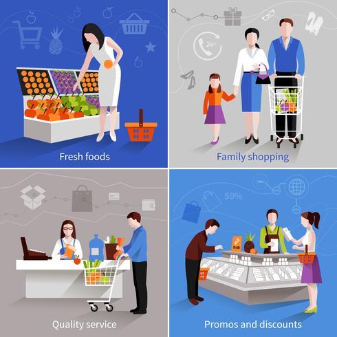 Supermarkt Mensen instellen vector