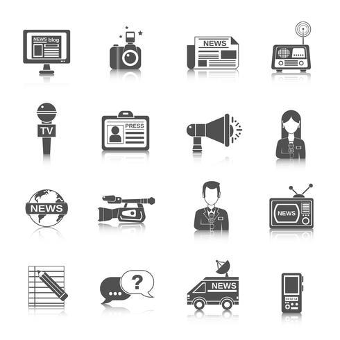 journalist pictogram zwart vector