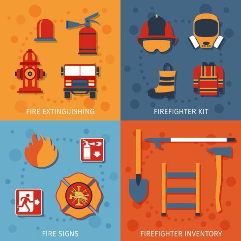 brandweerman flat set vector