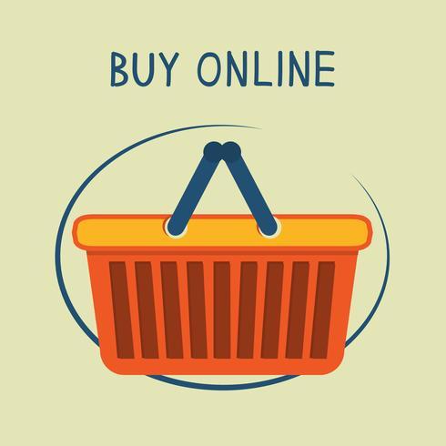 Koop online winkelmandje embleem vector