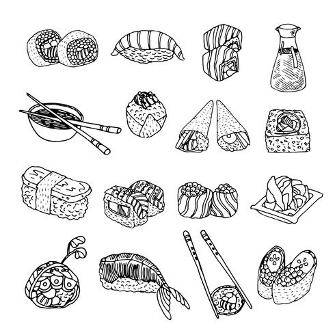 Azië eten sushi pictogrammen instellen vector