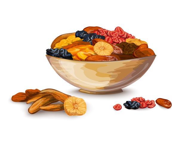 Gedroogde vruchten samenstelling vector