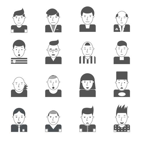 Man gezichten pictogrammen vector