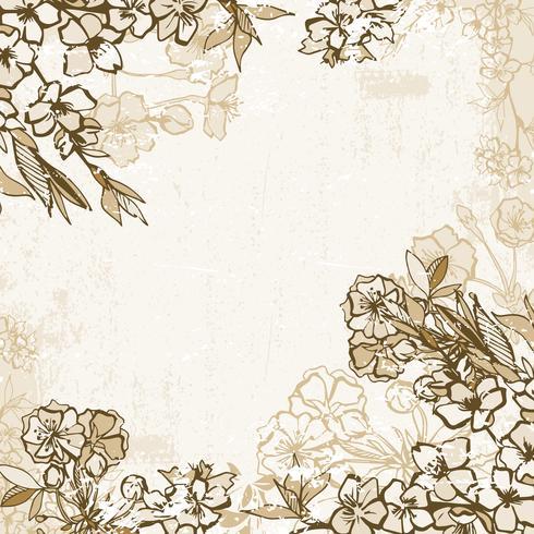 Achtergrondkader met tot bloei komende kers of sakura vector
