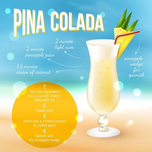 Cocktail recept Poster vector