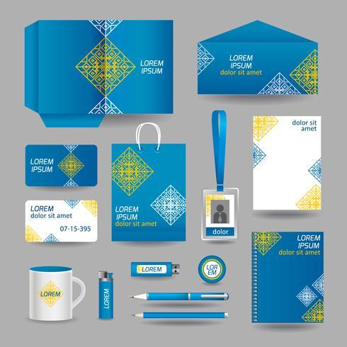 Blauwe sier sjabloon voor zakelijke briefpapier vector