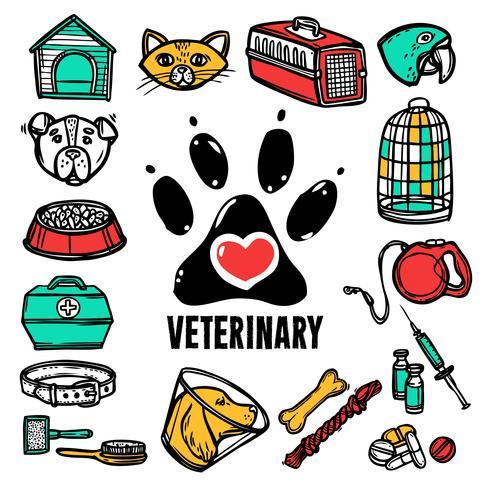 Veterinaire Icon Set vector