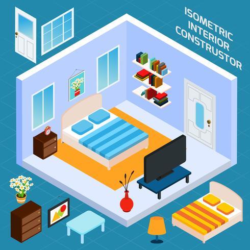 Isometrische slaapkamer interieur vector