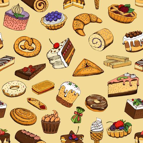 Naadloze zoete gebakjes vector