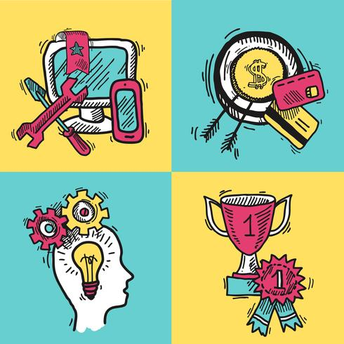SEO internet marketing gekleurde schets set vector