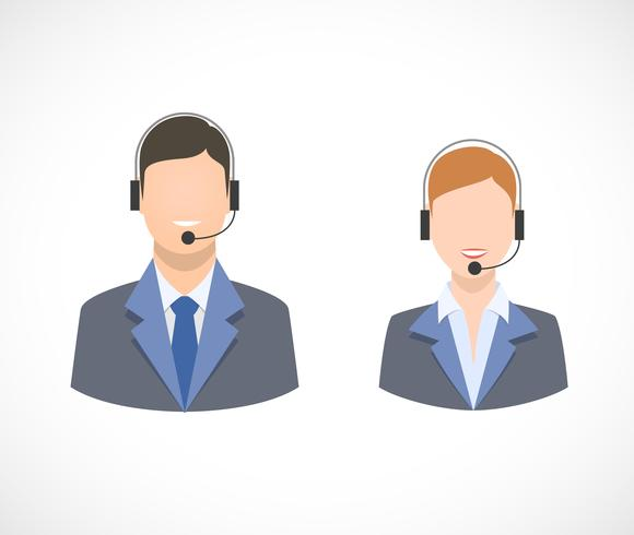 Call center ondersteuning personeel personeel pictogrammen vector