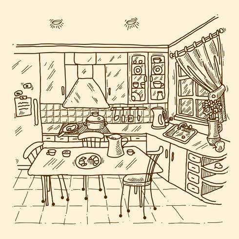 Keuken interieur schets vector