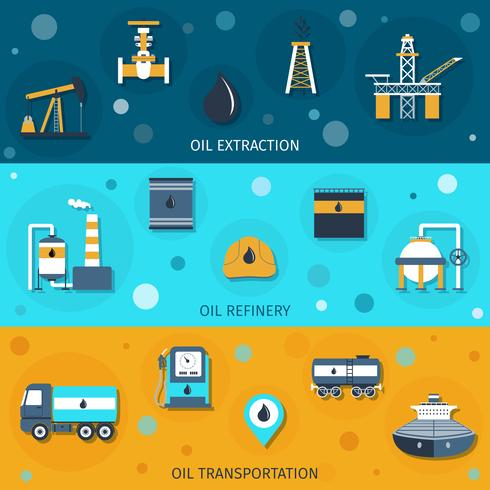 Olie industrie platte banners vector
