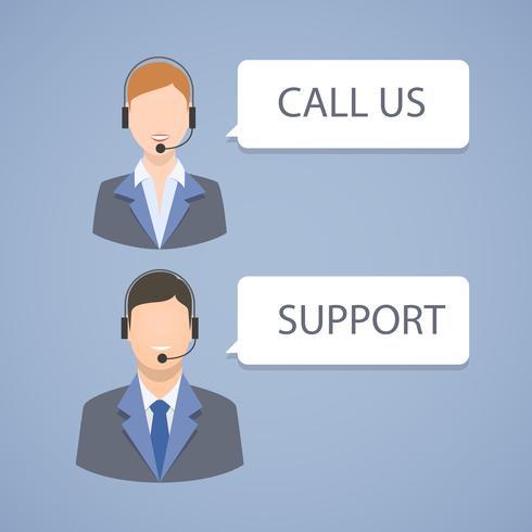 Callcenter support embleem vector