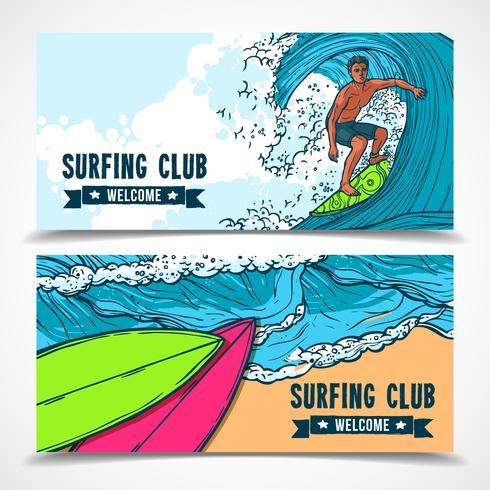 Surfen banners instellen vector