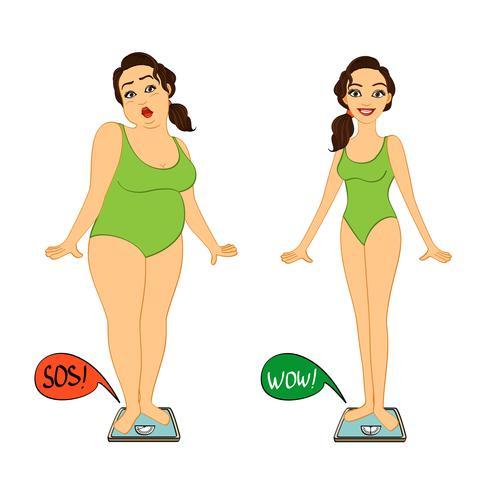 Dikke en slanke vrouw op gewichtsschalen vector