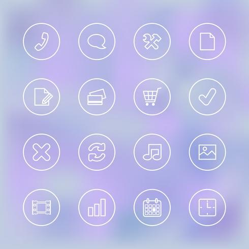 Iconset voor gebruikersinterface voor mobiele apps, transparant helder vector