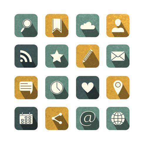 Vintage sociale media iconen set vector