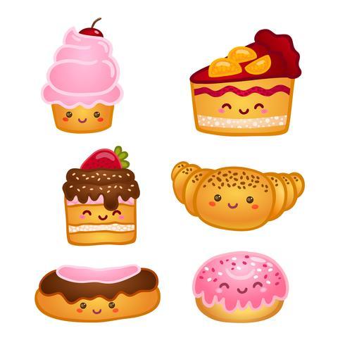 Verzameling van zoete gebakjes vector