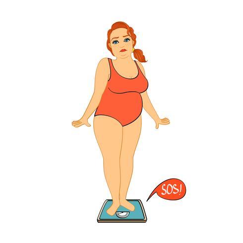 Vrouw op ongelukkige gewichtsschalen vector