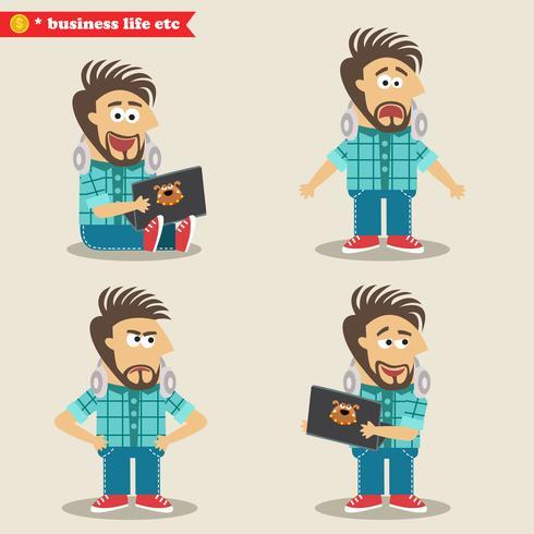 Jonge IT-geek-emoties in poses, staande houding vector