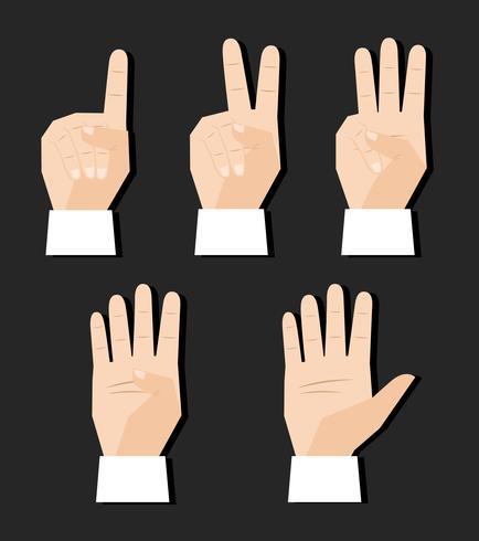 hand tellen tekenen vector