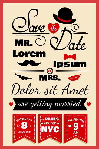 Bruiloft uitnodigingskaart in hipster stijl vector
