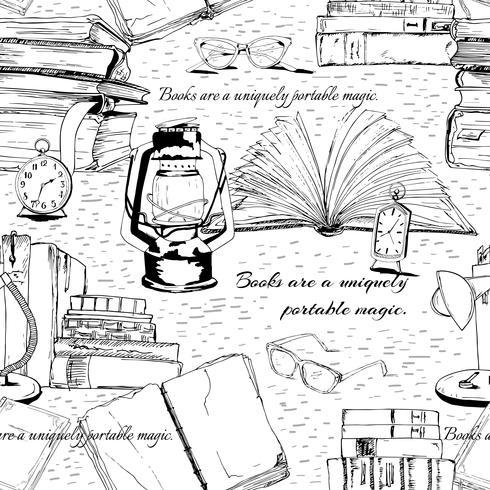 Zwart en wit boeken lezen naadloos vector