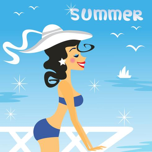 meisje zomer vector