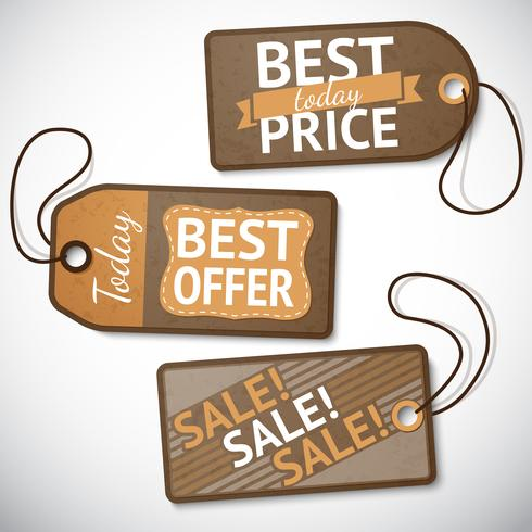 Set etiketten voor verkoop van kleinhandelskarton vector
