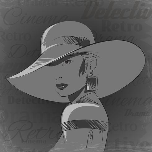Vintage bioscoop vrouw portret vector