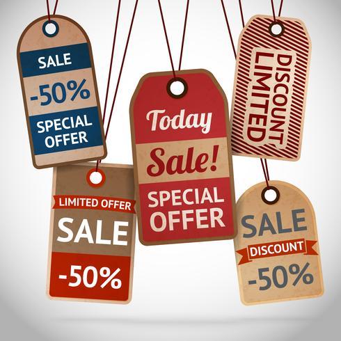 Verzameling van korting kartonnen verkooplabels vector