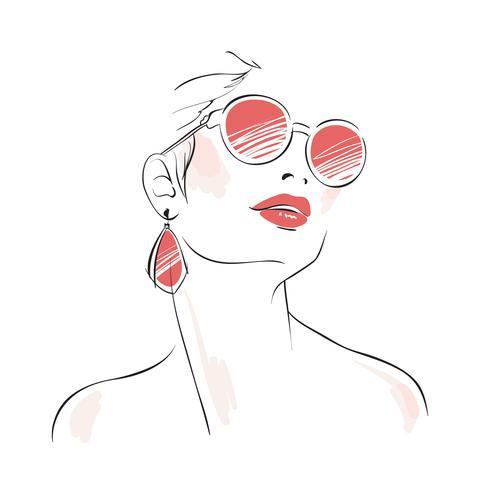 Expressief vrouwenportret met zonnebril vector