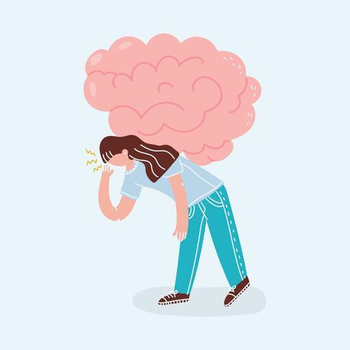 Meisje met haar hersenen vector