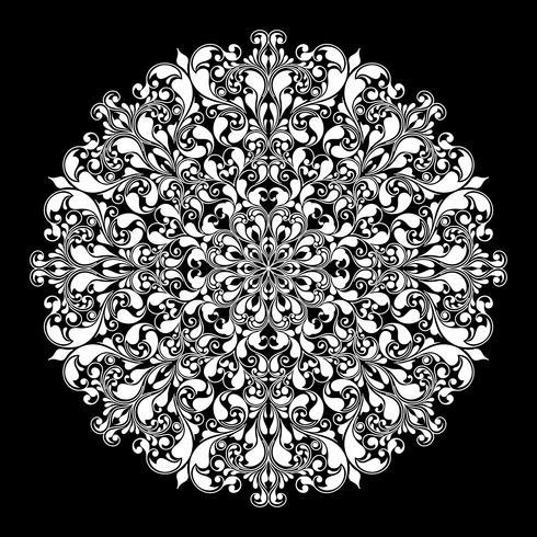 Sier rond patroon op zwart vector