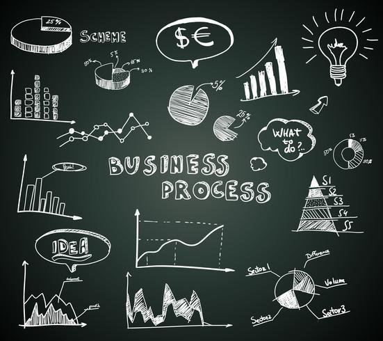 Doodle zakelijke diagrammen instellen op blackboard vector