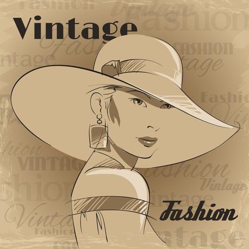 Retro poster van mode jonge vrouw vector