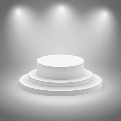Wit leeg verlicht podium vector