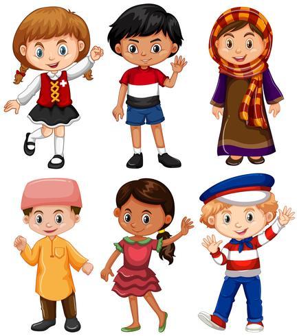 Jongens en meisjes uit verschillende landen vector