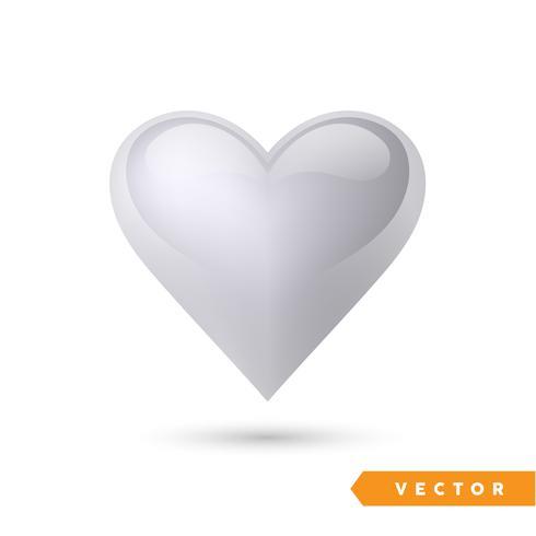Realistisch zilveren effecthart. Vector illustratie. Realistisch hart, geïsoleerd. - Vector