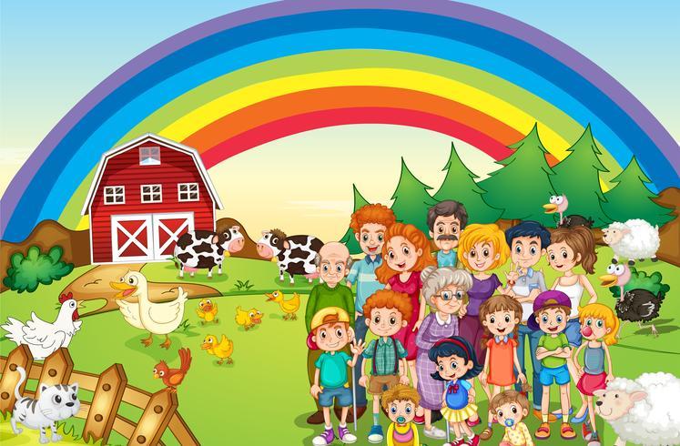 Familieleden die op de boerderij wonen vector