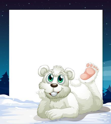 Een lege sjabloon met een glimlachende ijsbeer aan de onderkant vector
