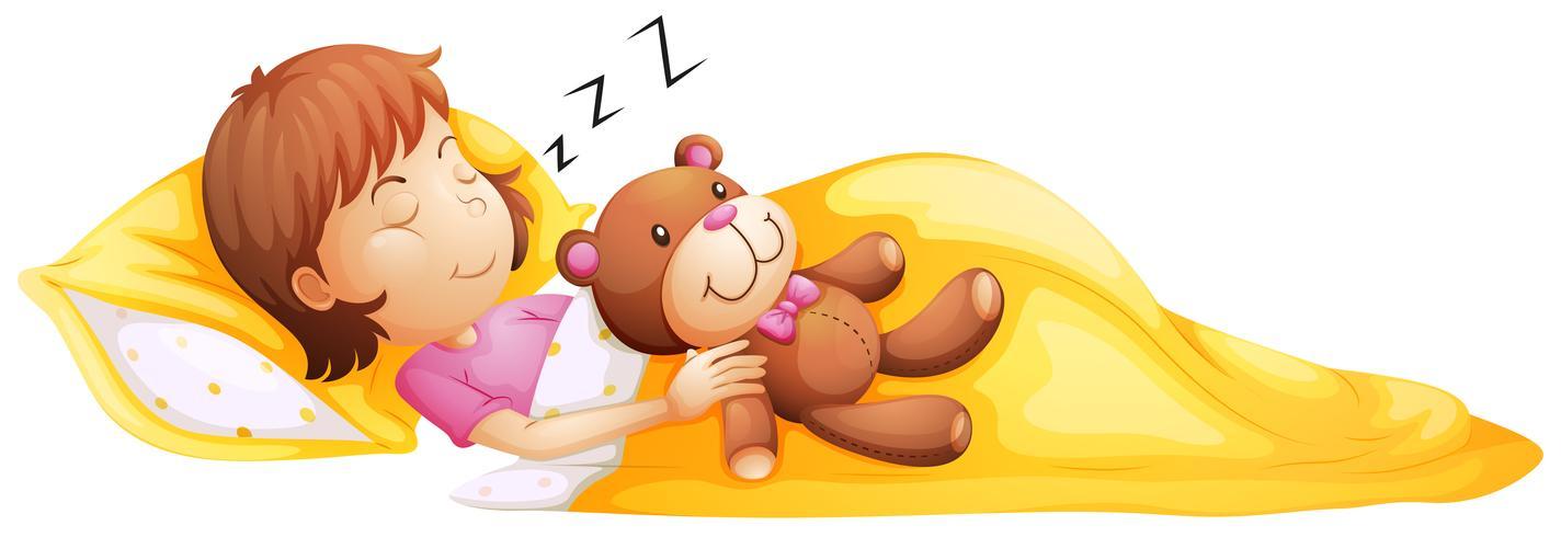 Een jong meisje slaapt met haar speelgoed vector