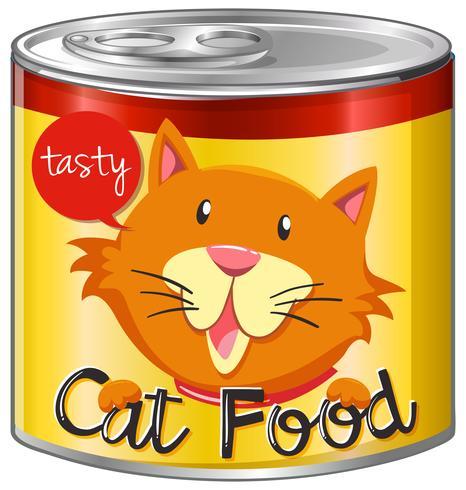 Kattenvoer in aluminium kan met geel etiket vector