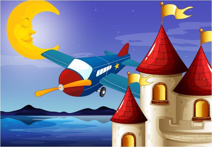 Een slapende maan, een vliegtuig en een kasteel vector