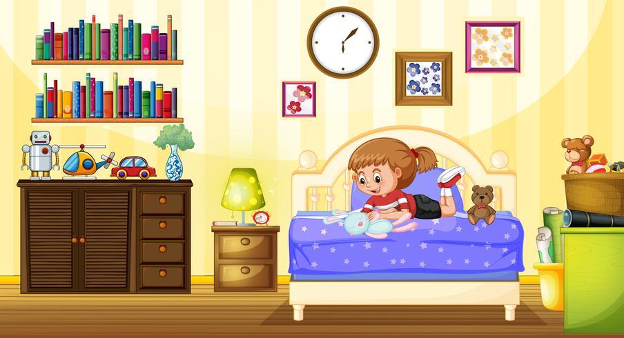 Meisje het spelen met pop in slaapkamer vector