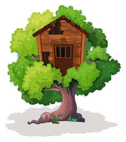 Oude boomhut op de boom vector