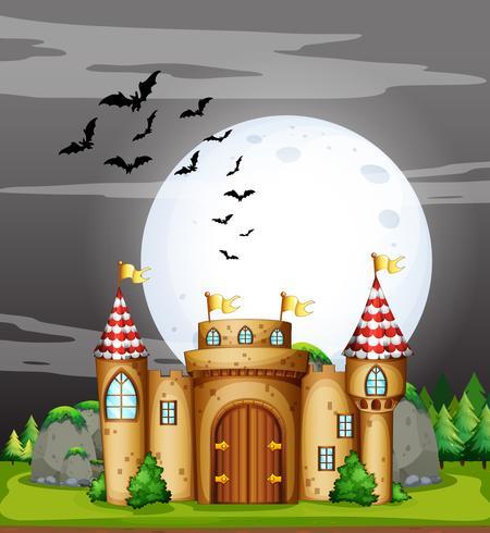 Een volle maan nacht en kasteel vector