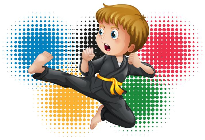 Jongen in zwart uniform karate vector